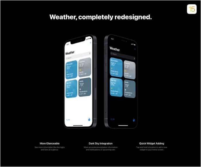 Schlankere Wetter-App-Erfahrung in iOS 15