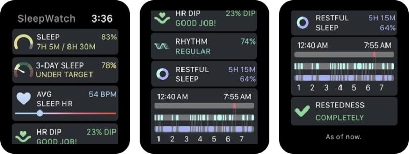Приложение для часов Sleep Watch от Bodymatter для Apple Watch