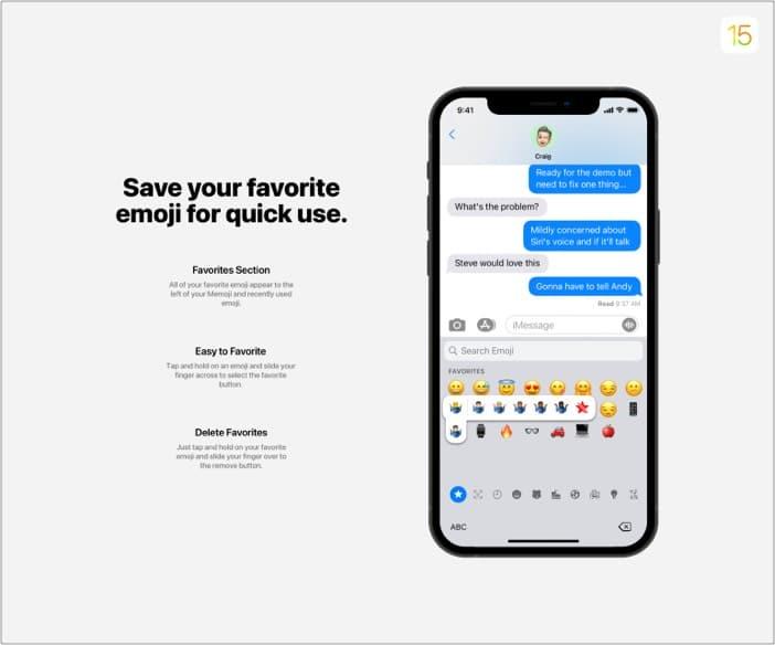 Reibungslosere Emoji-Unterstützung in iOS 15