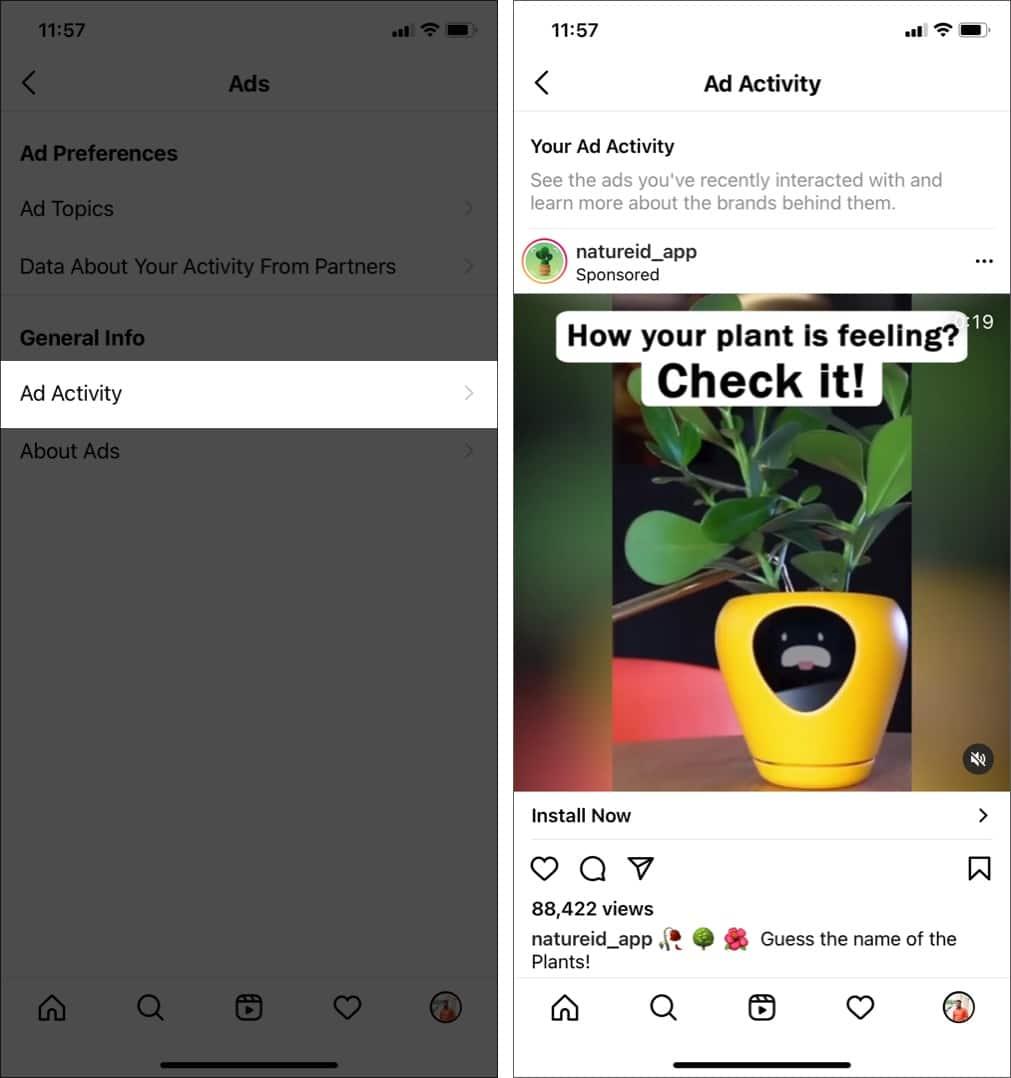 Tippen Sie auf Anzeigenaktivität, um zu sehen, auf welche Instagram-Anzeigen Sie geklickt haben