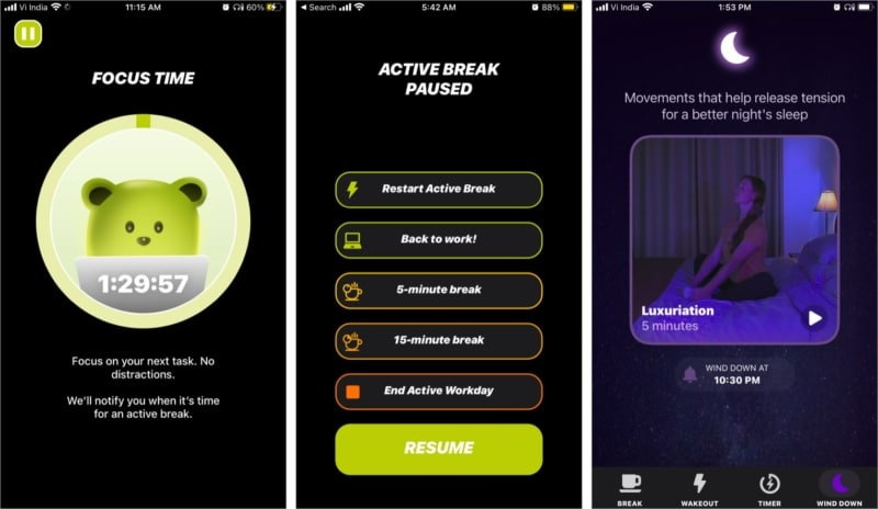 The balancing act feature in Wakeout iOS app