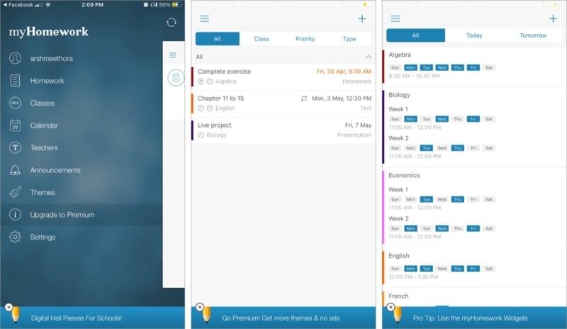 Verfolgen Sie die Klassen und Hausaufgaben der Schüler mit der myHomework iOS-App