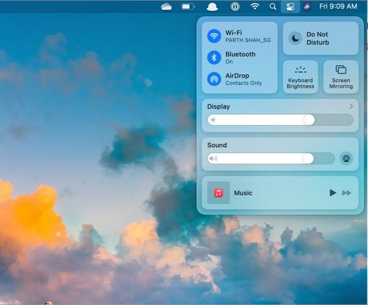 Используйте Mac Control Center в macOS big sur