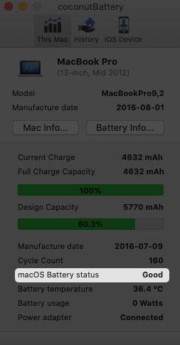 Verwenden Sie dieoconutBattery App, um den Akkuzustand des Mac zu überprüfen