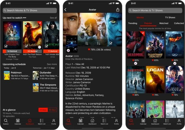 Watcht for Trakt App für iPhone zum Verfolgen von Filmen und TV-Shows