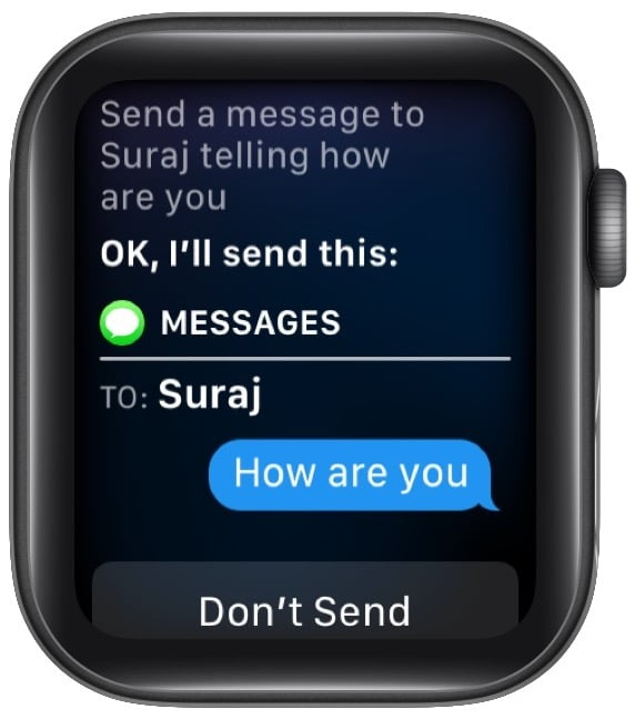 Ask Siri to Send a message to contact name with desired message