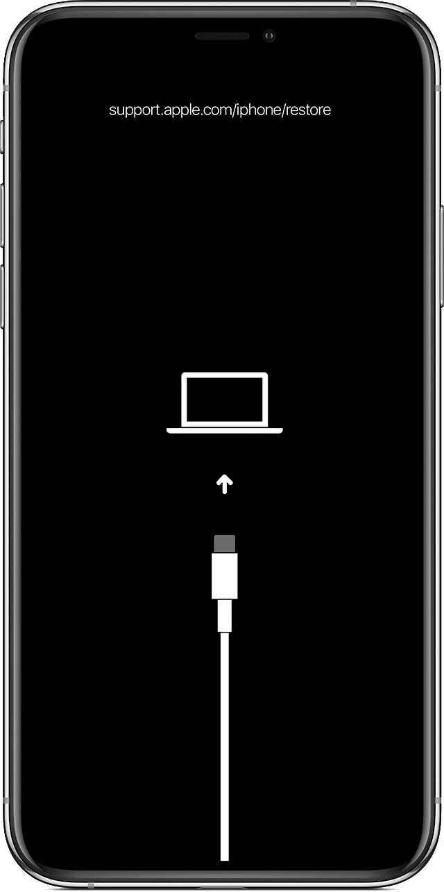 Black iPhone Recovery Mode screen with a cable pointing towards a laptop
