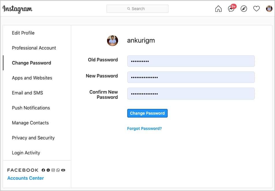 Change Instagram password using computer