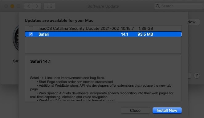 Check the box next to Safari to updtae it on Mac