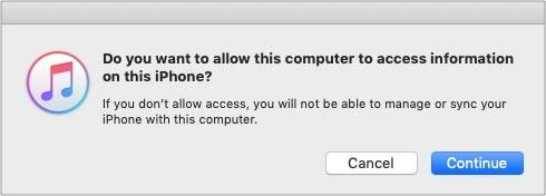 Klicken Sie auf Weiter und vertrauen Sie Ihrem iPhone, um es in iTunes auf Mac oder PC anzuzeigen