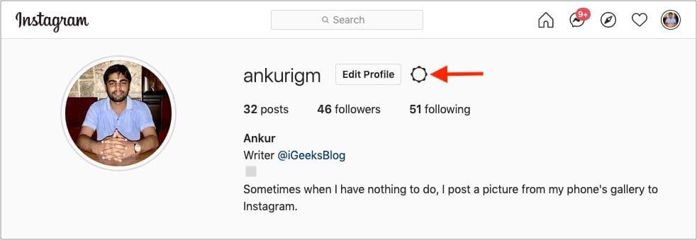 Clickgear iconnext toEdit Profile on Instagram web