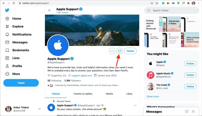 Contact Apple Support by sending Twitter DM