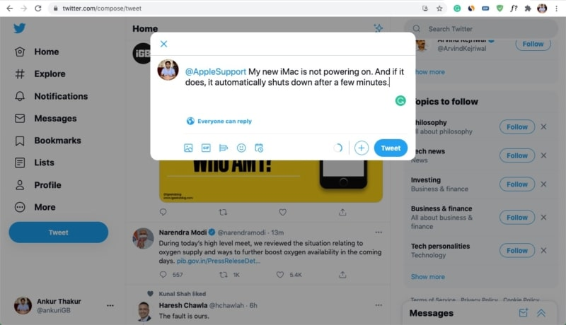 Contact Apple Support by tagging them on Twitter