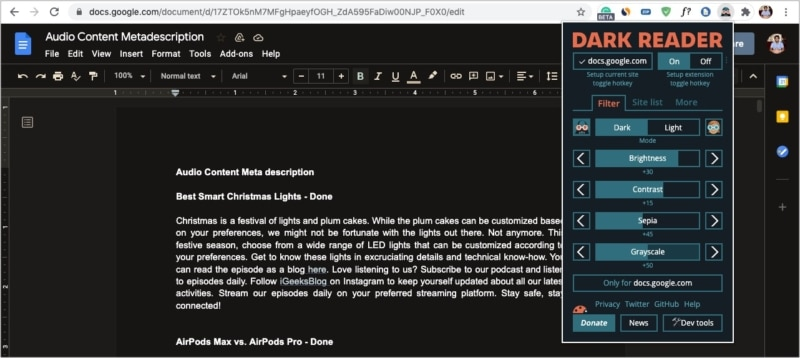 Dark Reader extension to enable Dark Mode in Google Docs