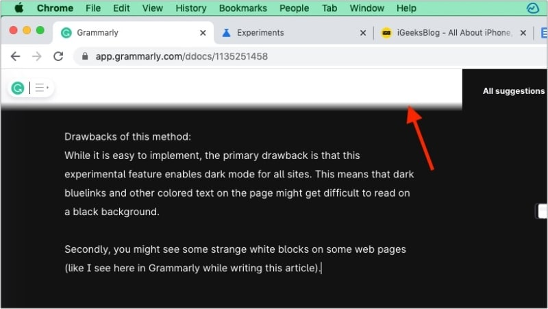 Drawbacks of Chrome experimental dark mode feature