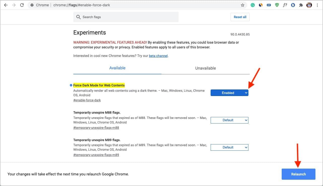 Aktivieren Sie den Force Dark-Modus für Webinhalte und starten Sie Chrome neu