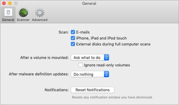 Enable scanning for iPhone iPad in VirusBarrier Preferences