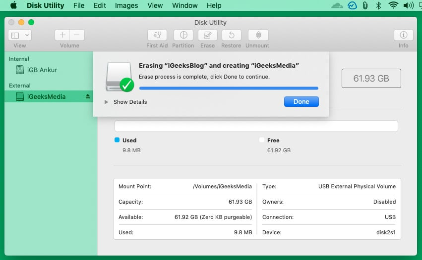 External disk erased and formatted successfully using Disk Utility