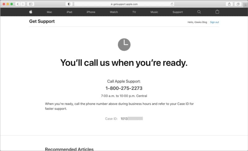 How to call Apple Support or get a callback from them