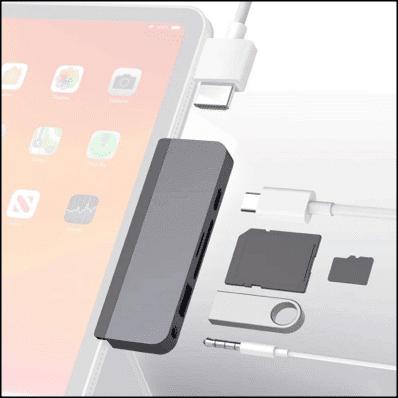 HyperDrive USB-C hub adapter to convert iPad into a MacBook