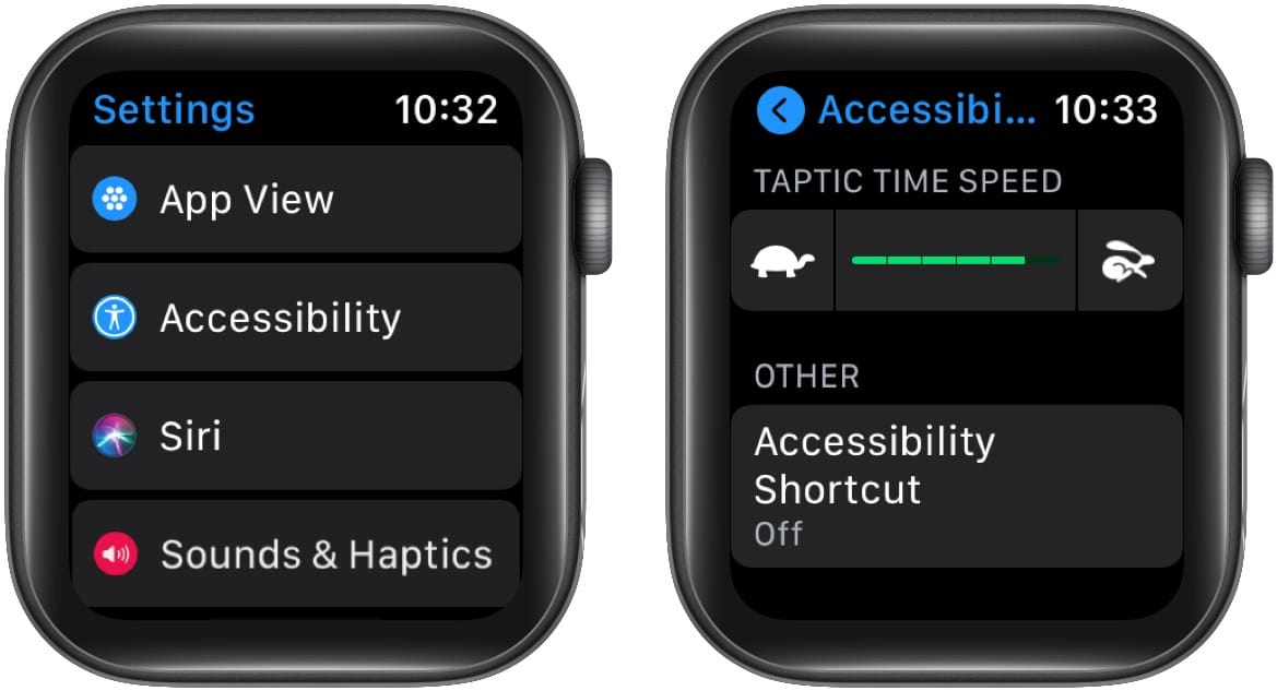 In Apple Watch Accessibility Settings change Taptic Time Speed