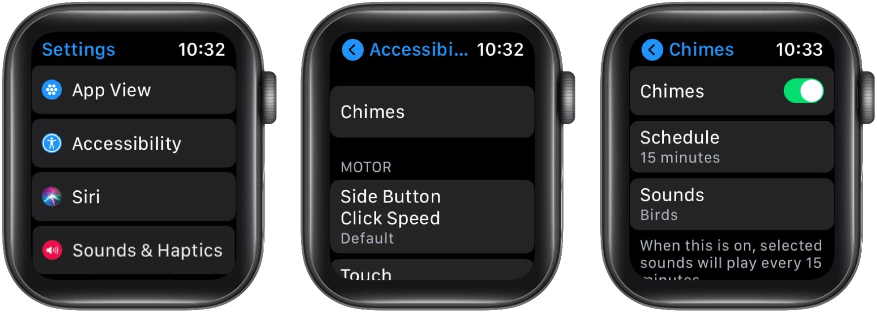 In Apple Watch Accessibility Settings tap Chimes and enable it