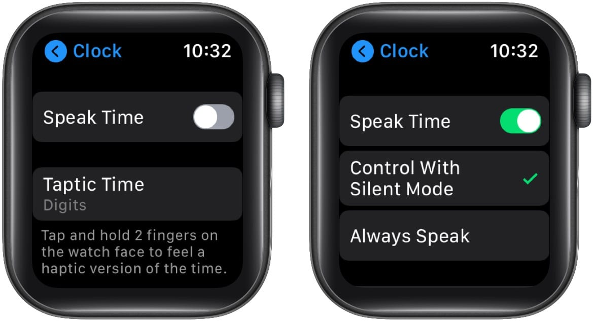 In Apple Watch Settings turn off Speak Time or set it to Control With Silent Mode