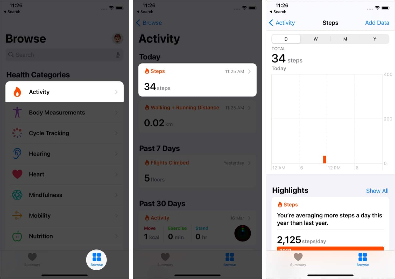 In iPhone Health app tap Browse, Activity, and then tap Steps