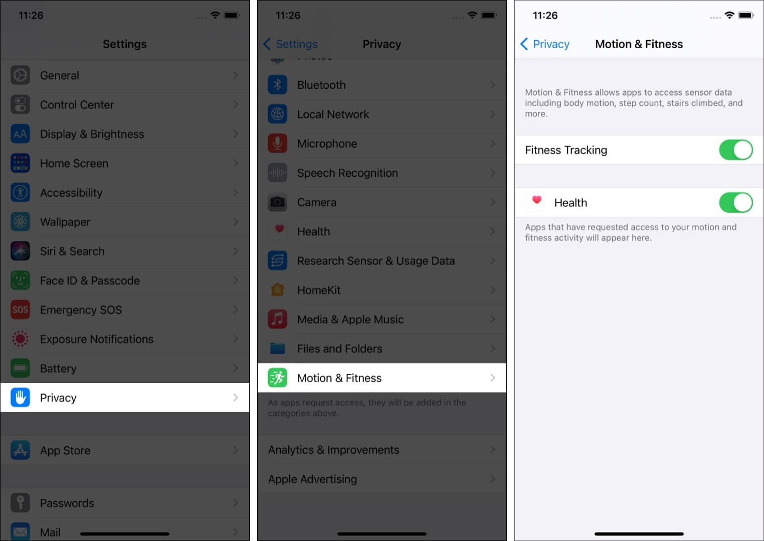 In iPhone Settings tap Privacy Motion & Fitness and enable Fitness Tracking and Health