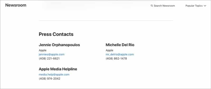 Media or press contact numbers from Apple Newsroom