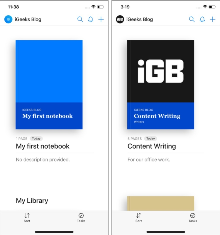 Notebooks in Hypernotes iOS app