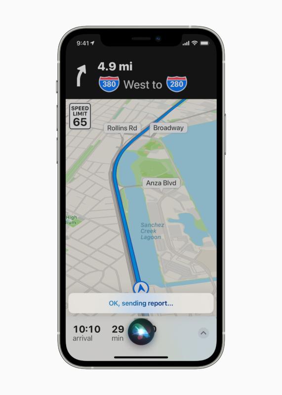 Melden Sie Geschwindigkeitsüberprüfungen, Verkehrsunfälle oder Gefahren in Apple Maps mit Siri