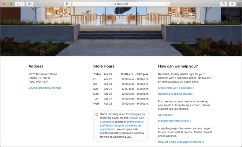 See Apple Store address, phone number, directions, store hours, and more