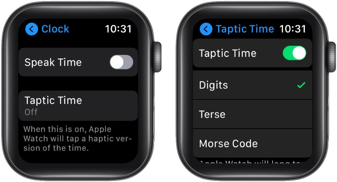 Tap Taptic Time enable it and choose one option