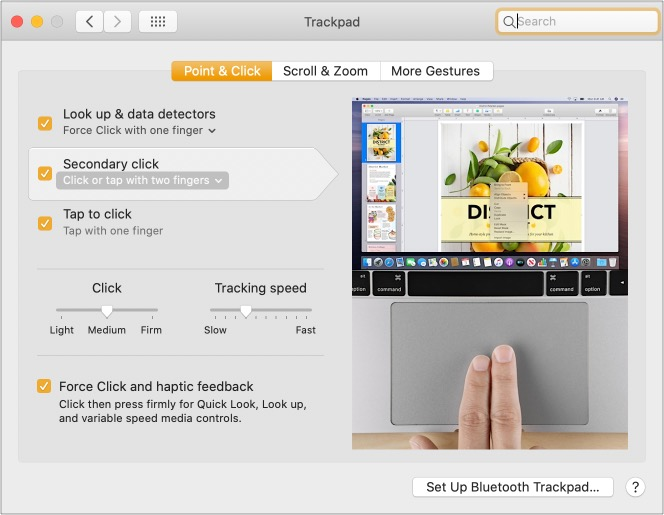 Use two fingers to right click on Mac