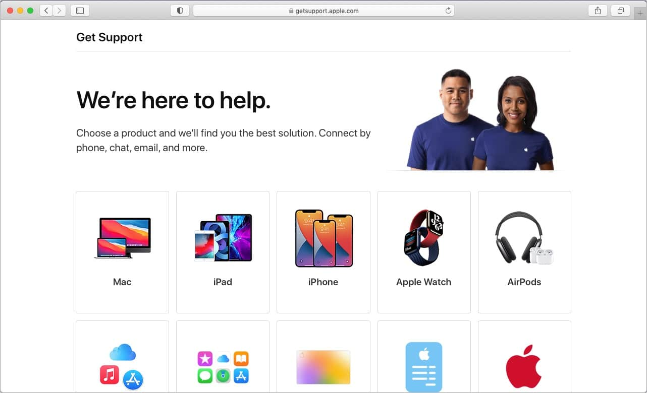 Visit GetSupport.Apple.com and choose an option
