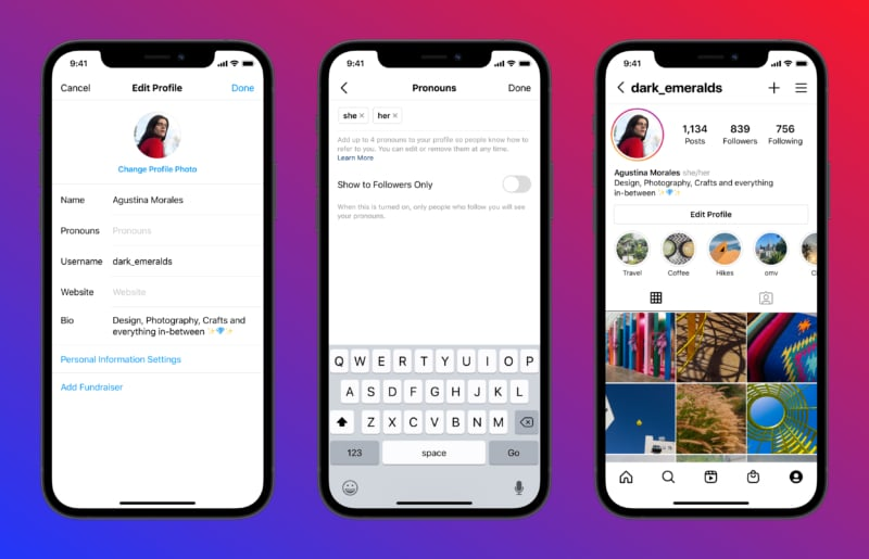Add pronouns to your Instagram bio on iPhone