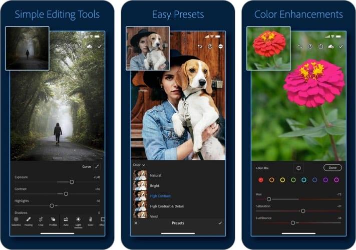 Adobe lightroom iPhone camera app screenshot
