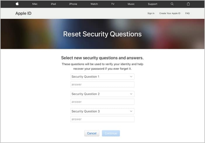 Choose new security questions for Apple ID