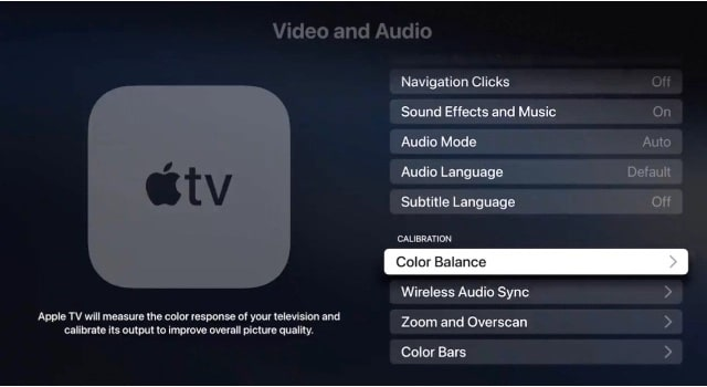 Color Balance option in Apple TV