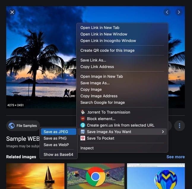 Konvertieren Sie Webp-Bilder mit der Chrome-Erweiterung