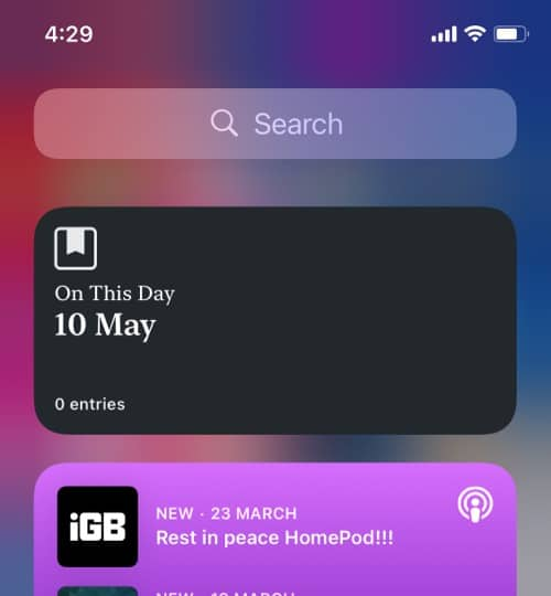 Day One Journal third party widget for iOS 14