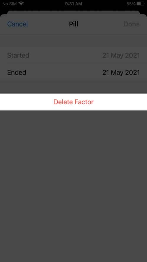 Delete a current factor in health app on iPhone