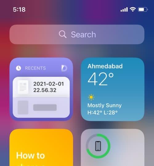 Documents iOS home screen widget