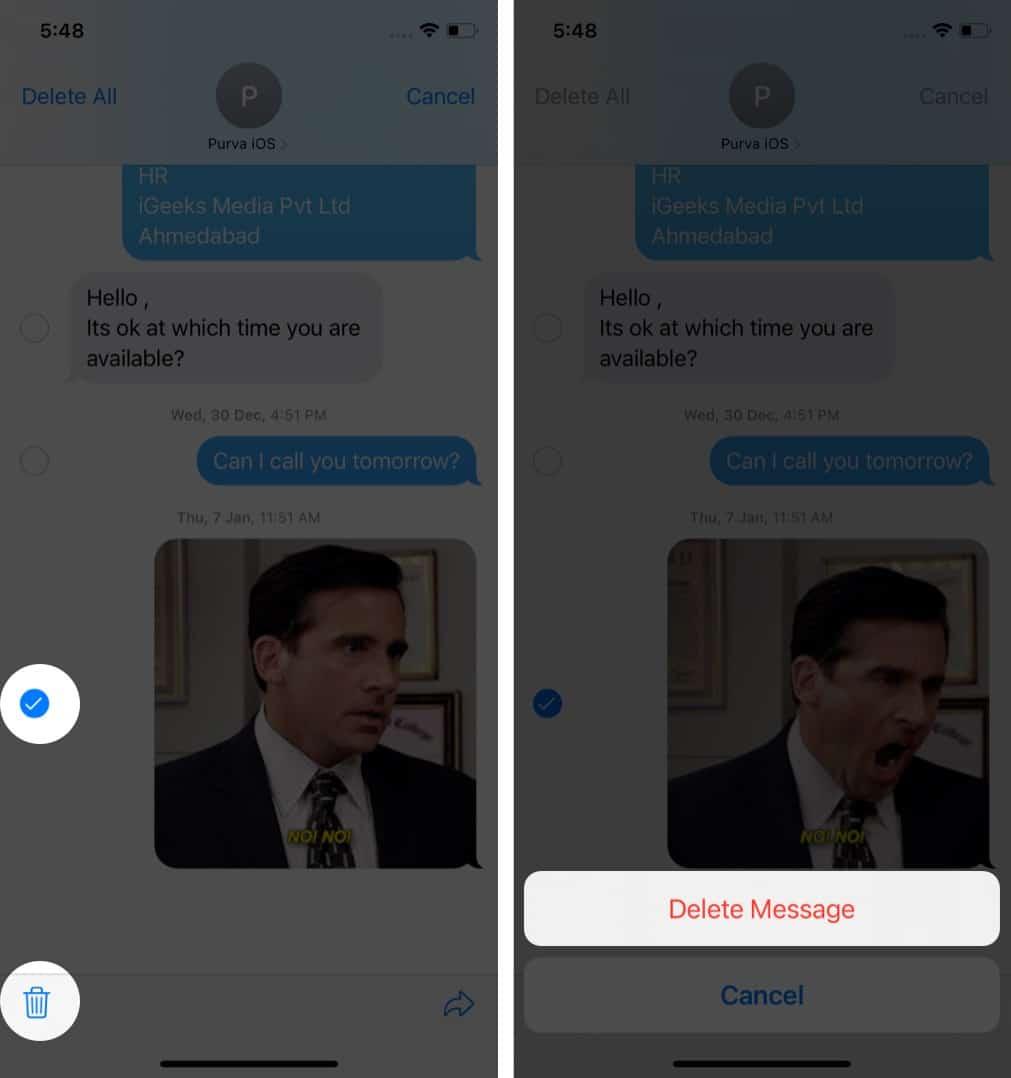 So löschen Sie ein Foto und ein Video aus der iOS-Nachrichten-App