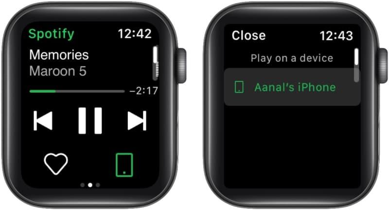Verwendung von Spotify Connect auf der Apple Watch zur Steuerung der Wiedergabe