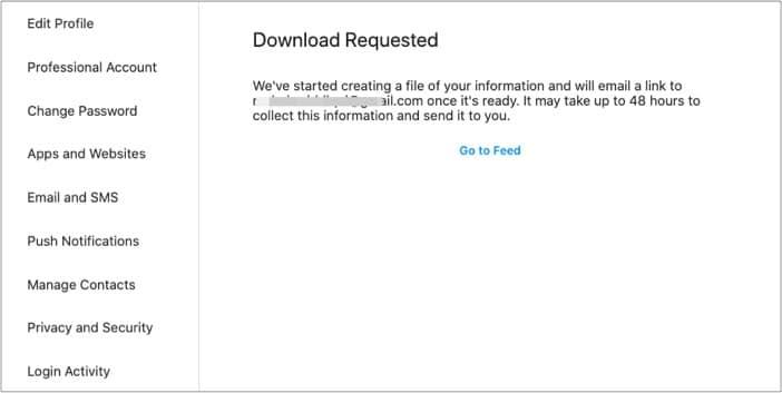 Запрос на загрузку данных Instagram для восстановления сообщений