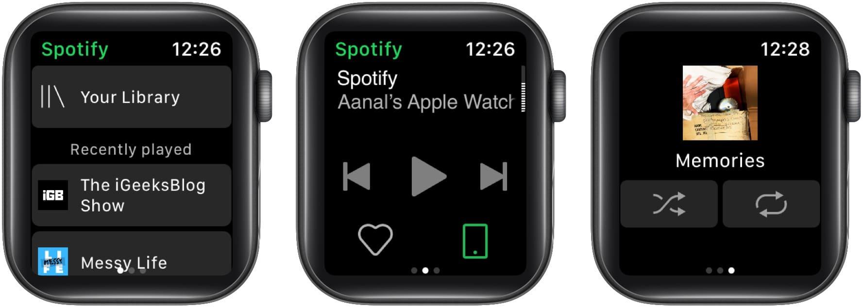 Hauptbildschirm von Spotify auf der Apple Watch