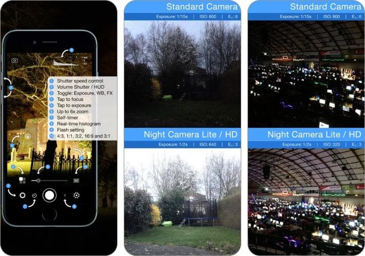 night camera for low light photos iPhone camera app screenshot