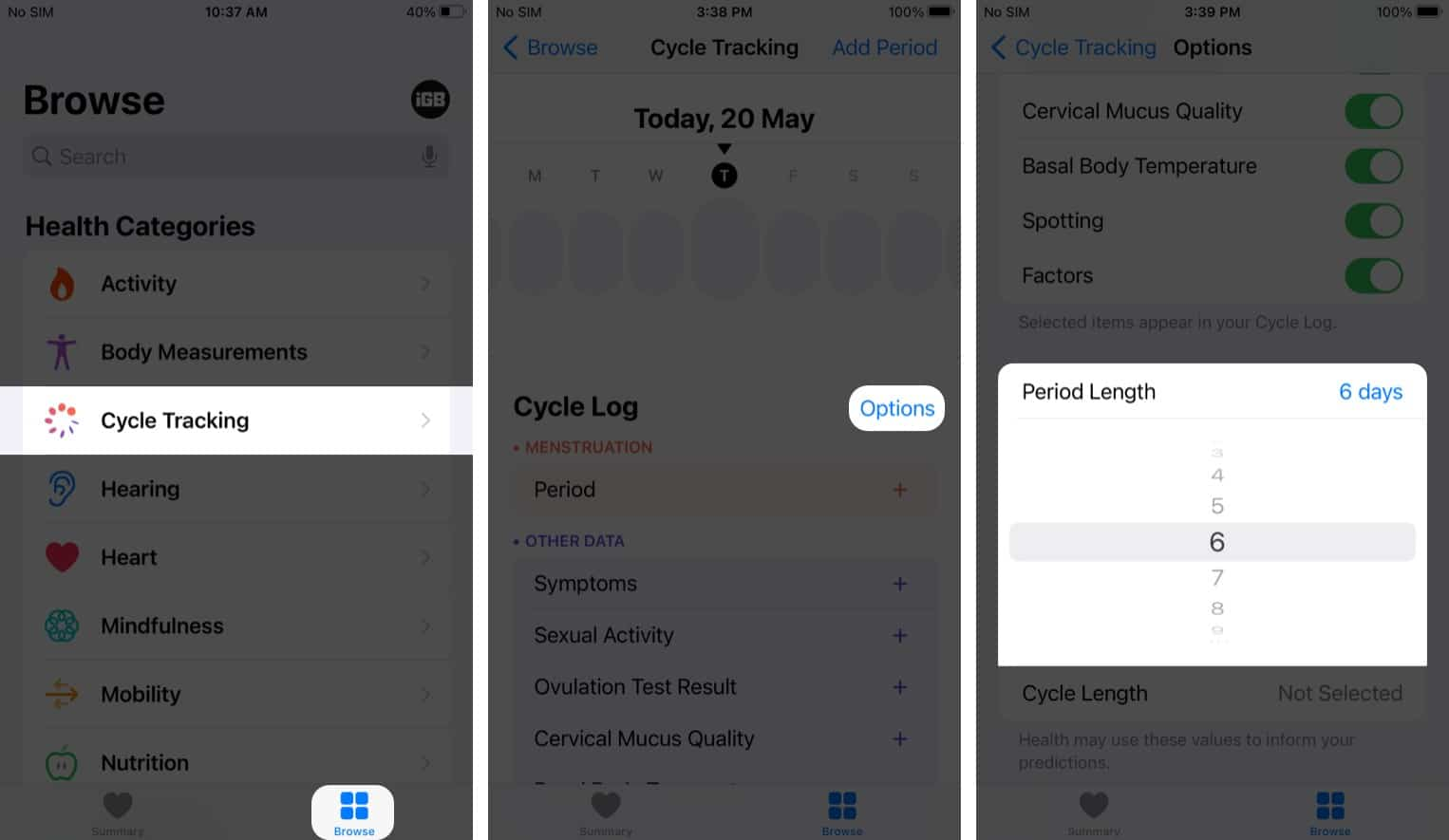 Select Period Length in health app on iPhone